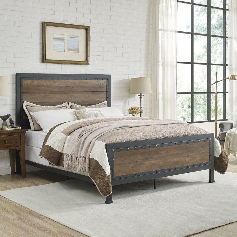 Best Berta Industrial Queen Standard Bed Wood Beds Metal 640 x 480