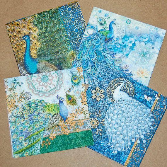 decoupage napkins peacock design 4 different peacock paper napkins for decoupage collage - Decorative Paper Napkins