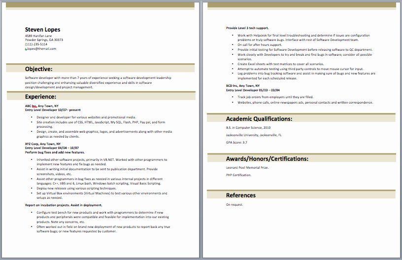 Entry Level Software Developer Resume Best Of Entry Level Web Developer Resume In 2020 Web Developer Resume Sample Resume Templates Job Resume Samples