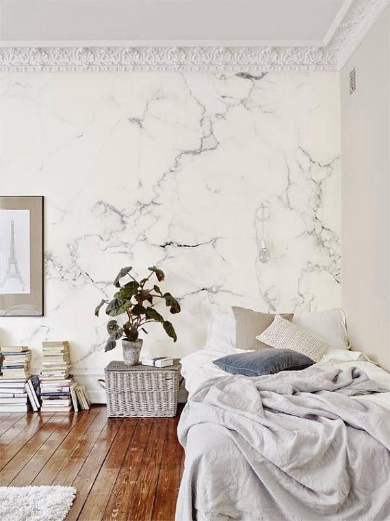 Marble Bedroom: Delicate Marble Wallpaper/ Large Mural / Monochrome