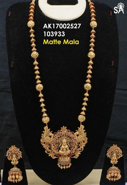 70a1a78b75 Latest Matte Gold Temple Haram | Buy Online 1 gram Jewellery | Elegant  Fashion Wear