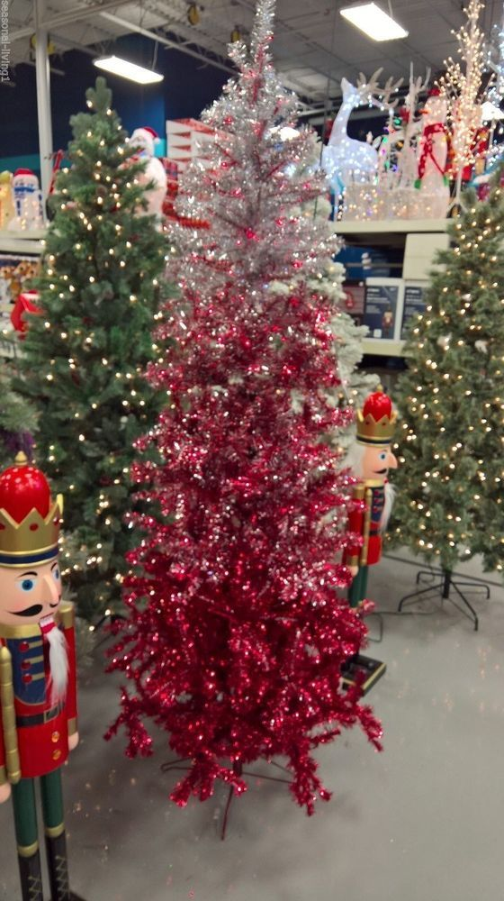 Tinsel Ombre 7 Ft Ruby Silver Artificial Christmas Tree 350 Red Lights Stand Genfoam