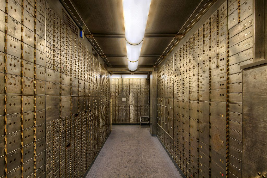Safe Deposit Boxes in the Basement of the Historic US