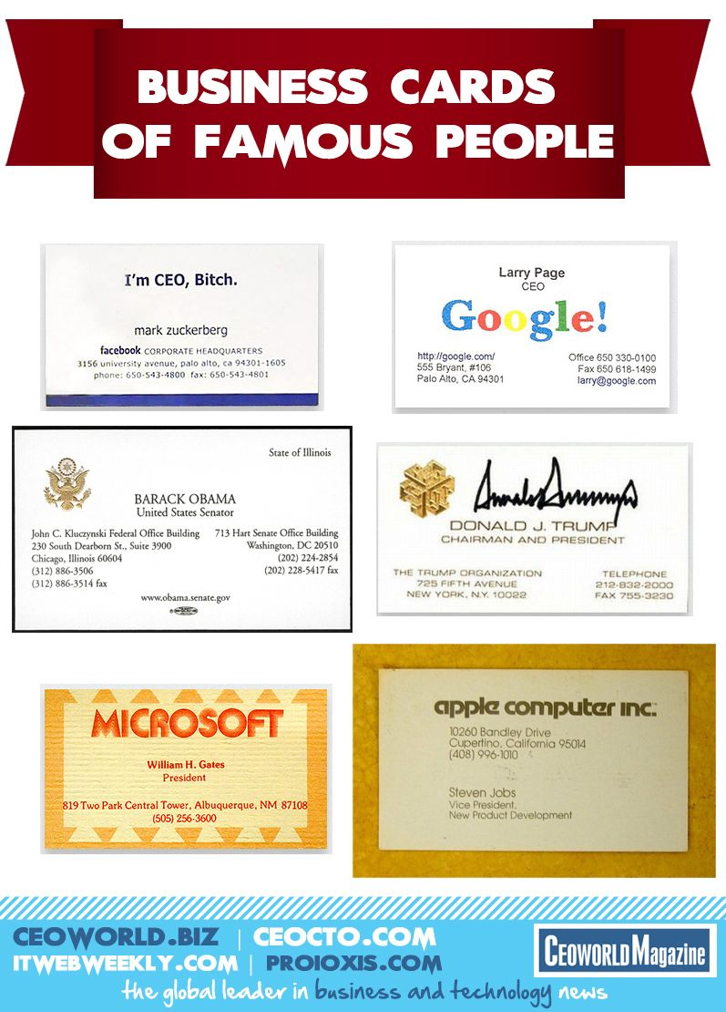 Business Cards of Famous People [infographics] | 130 Production ...