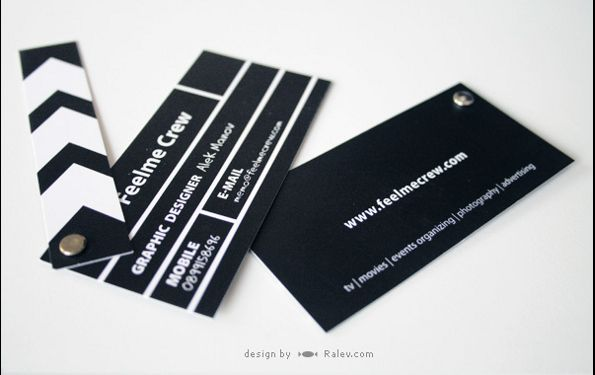 Feelme crew business cards for a multimedia agency that mimic a business cards for a multimedia agency that mimic a clapperboard found in filmmaking and video production reheart Images