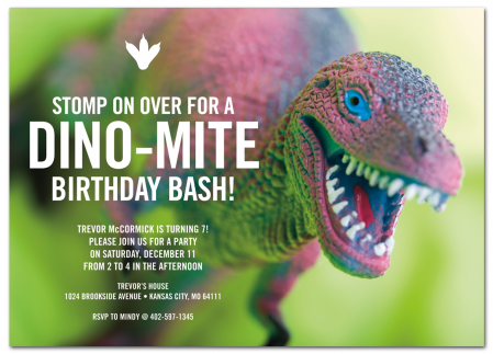 Dino-mite! Kid's Birthday Party Invitation from www.papersnaps.com    http://www.papersnaps.com/invitations/kids-birthday-party-invitations/dino-mite-kid-s-birthday-party-invitation.html    #Dinosaur #BirthdayParty