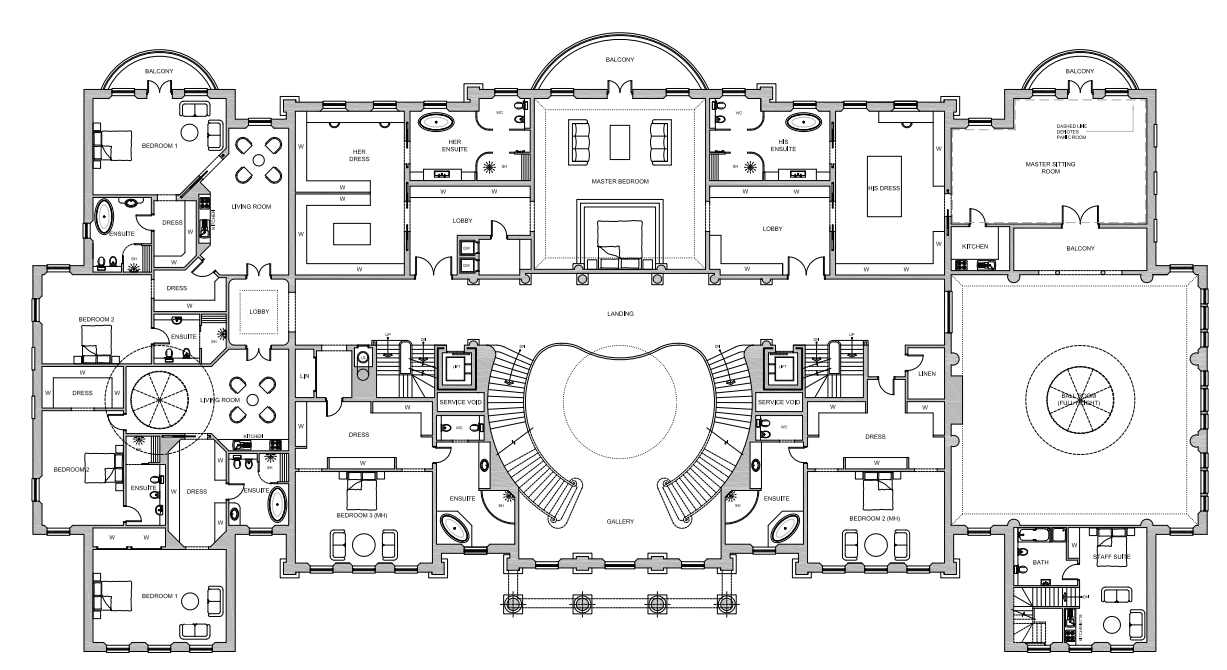 First (bedroom) Floor Plan Of A 56,000 Square Foot Home By Ascot Design To