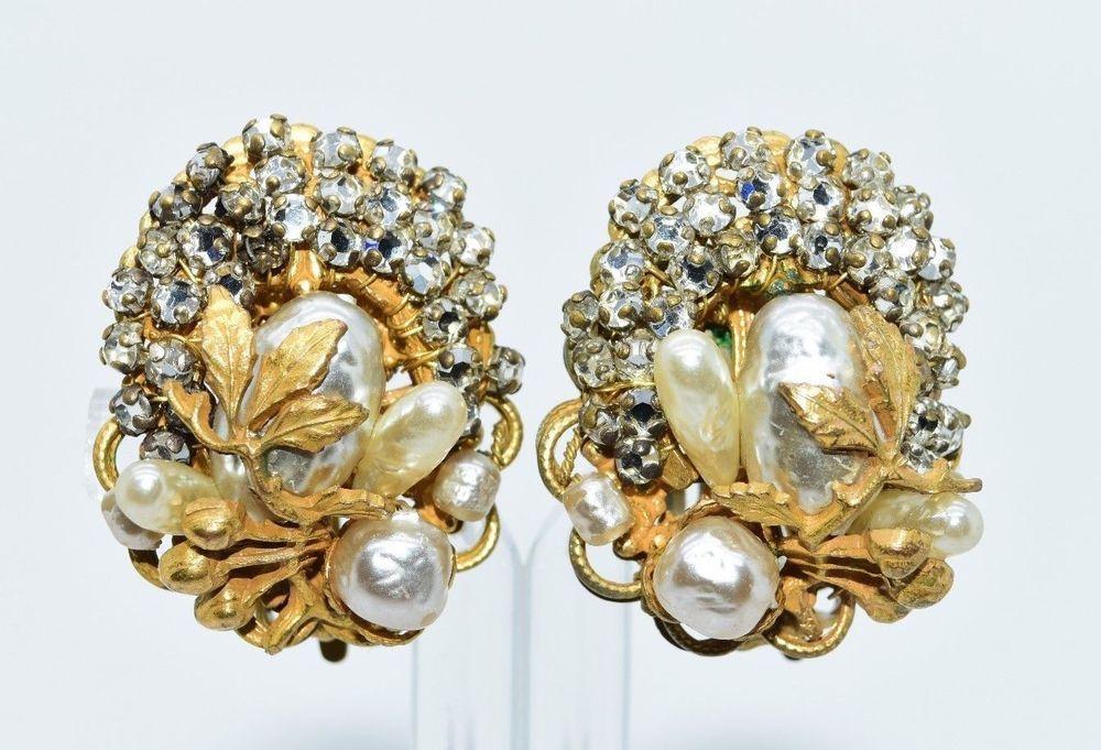 Vintage Original By Robert Pearl Rhinestone Leaf Clip On Earrings Ebay Clip On Earrings Vintage Costume Jewelry Earrings