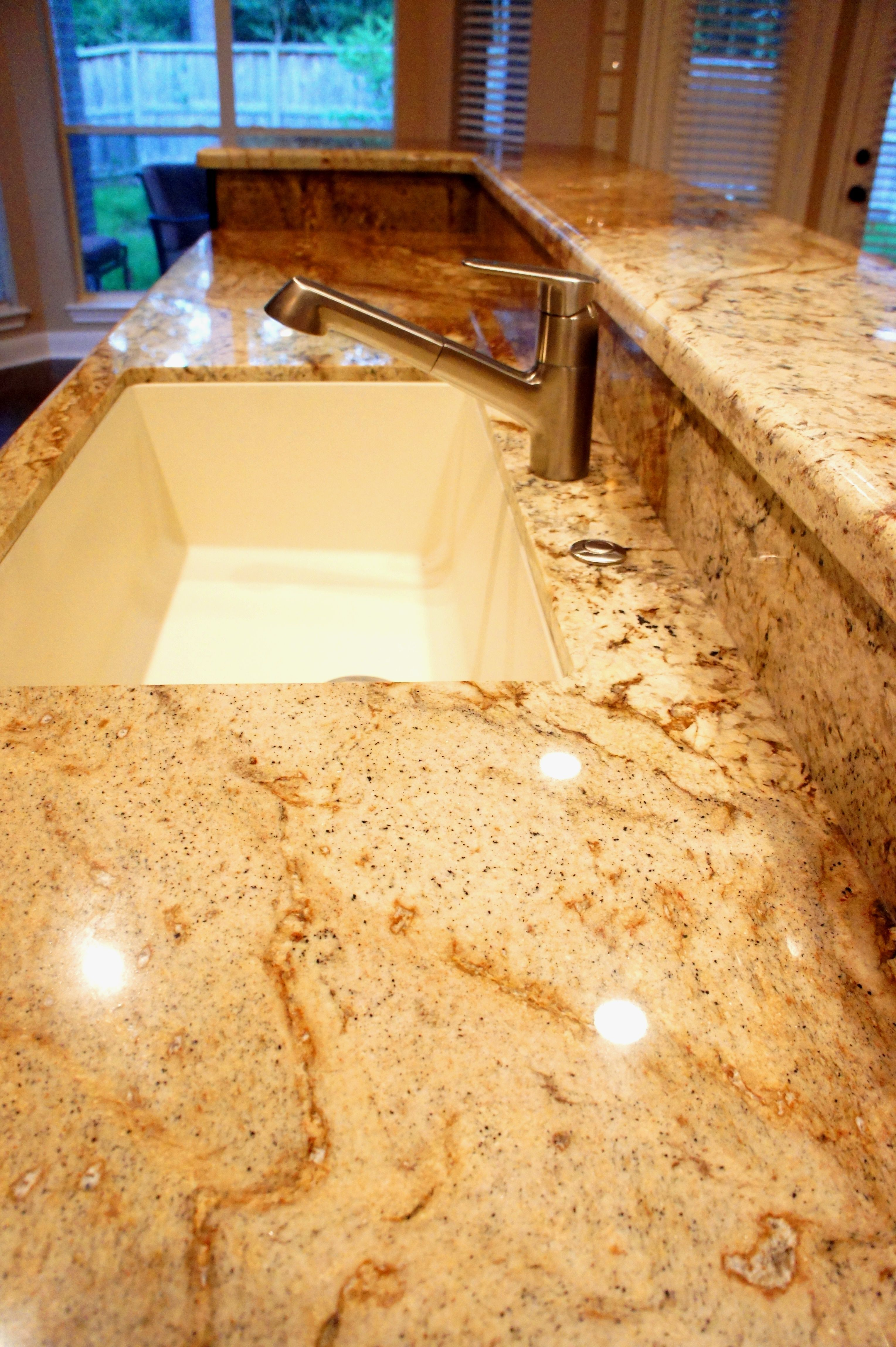 Granite Counter tops and Blanco Sink for Kitchen Remodel