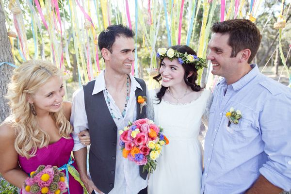 Why are they smiling?  'cause there's RIBBONS HANGING FROM TREES omg!