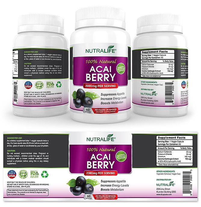 Acai Berry Extract Supplement Label Template HttpWwwDlayouts