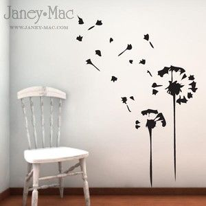 Dandelion Wall Decal Blowing Wind Seeds Bedroom Home Living Room Kitchen  Vinyl Wall Art Room Decor