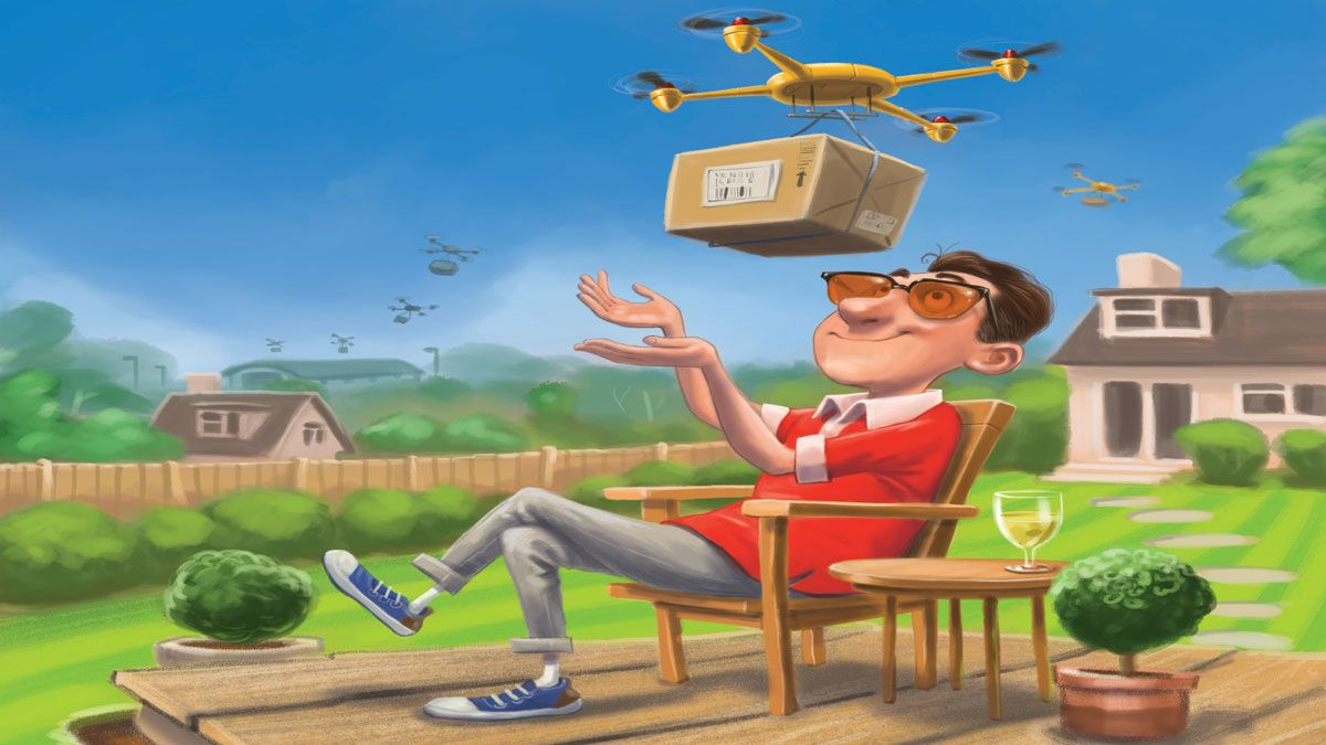 MoneyWeek cover illustration - man receiving parcel delivery by aerial drone