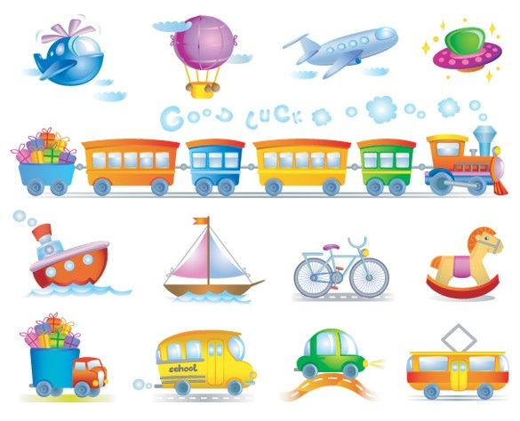 13 Cartoon Transport Vector Icons Set