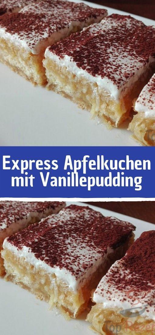 Express Apfelkuchen mit Vanillepudding