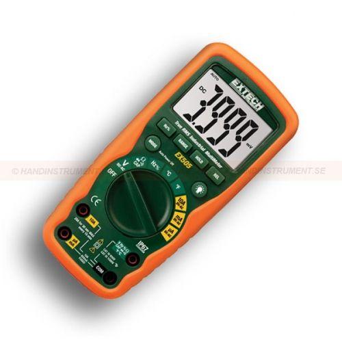 http://termometer.dk/multimeter-r13262/digitale-multimetre-r13263/robust-industrial-multimeter-med-sand-rms-53-EX505-r13290  Robust Industrial multimeter med sand RMS  Sand RMS DMM med 11 funktioner og 0,5% træfsikkerhed  AC / DC spænding og strøm, modstand, kapacitans, frekvens, temperatur, Duty Cycle, Diode / Continuity  Dual følsomhed frekvens funktioner (elektrisk / elektronisk)  1000V input beskyttelse på alle funktioner  10A max strøm  Datahold, relativ, Auto-off, når tomgang...