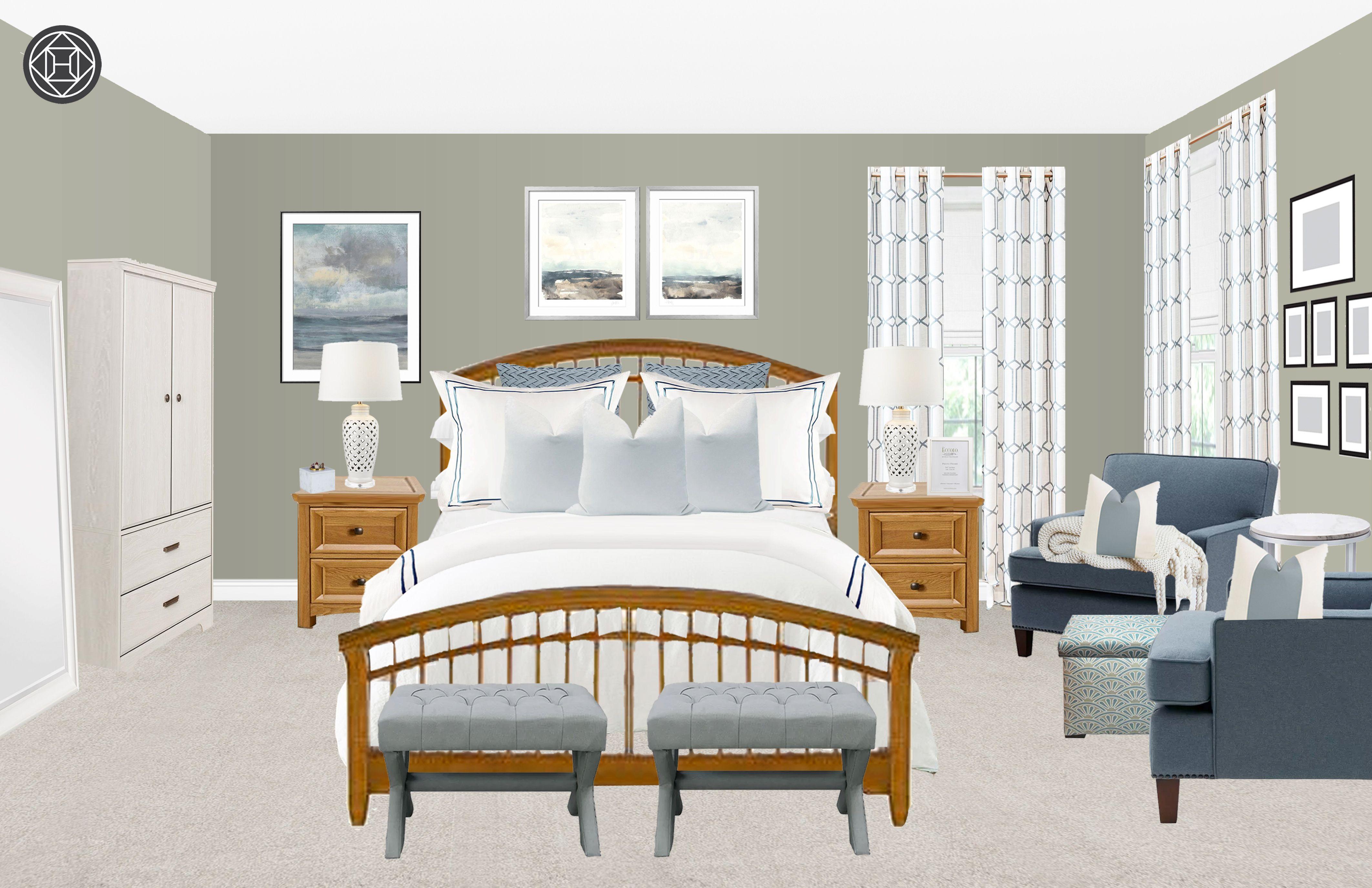 Classic, Coastal, Preppy Bedroom Design by Havenly