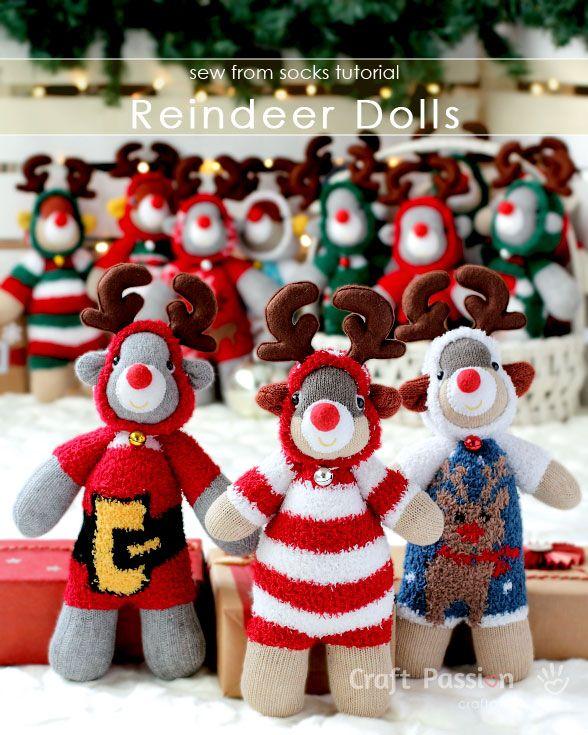 Sock Reindeer Doll - Free Pattern & Tutorial | Socks, Christmas ...