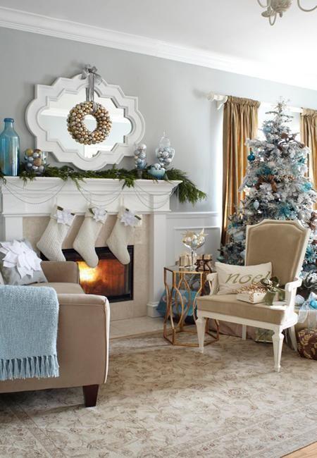 Blue Christmas Tree Decorating Ideas Adding Cool Elegance To Winter Holiday Decor Christmas Decorations Living Room Christmas Living Rooms Holiday Room Living room xmas decor ideas