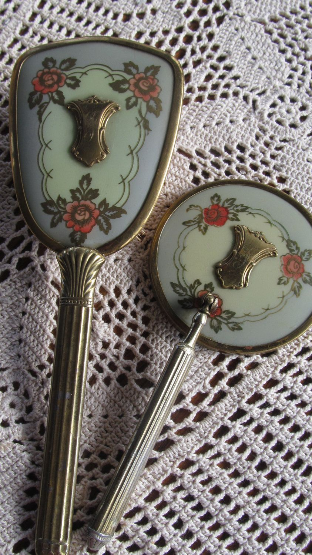 Vanity mirror set gold monogram initial f vintage hand mirror brush
