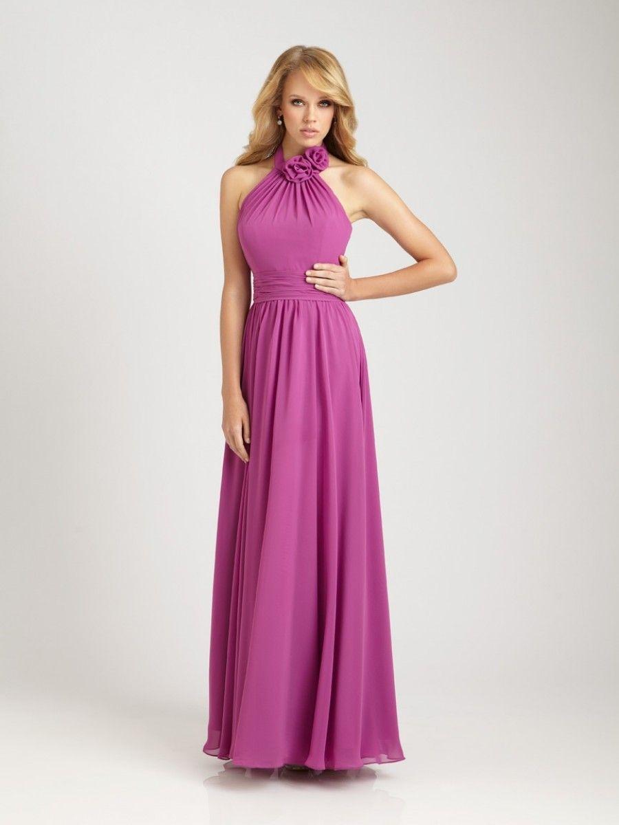 A-line Jewel Halter Floor Length Chiffon Purple Bridesmaid / Evening ...