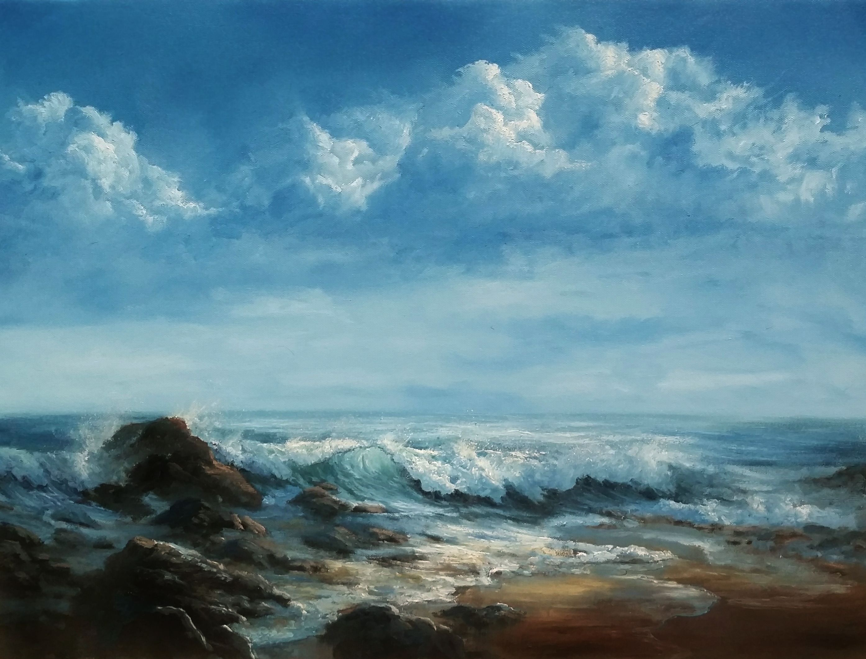 Storm Clouds Crashing Waves Oil Painting By Kevin Hill Watch Short Oil Painting Lessons On Sky Painting Oil Painting Landscape Oil Painting Ideas Landscape