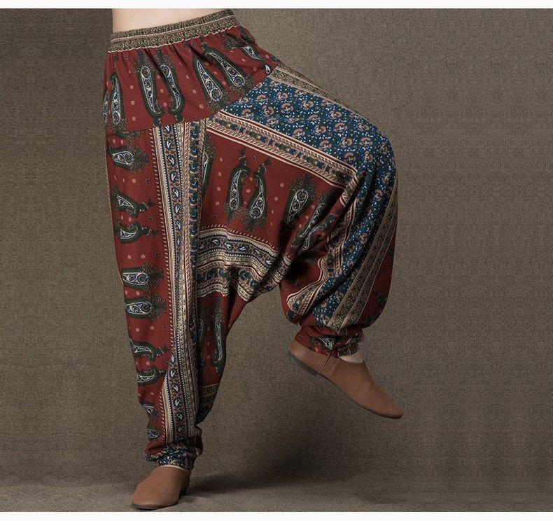 9acb7da0f176 Aliexpress.com  Acheter Jiqiuguer conception originale sarouel taille  élastique larges pantalons jambes des femmes impression indien pantalons  coton lin ...