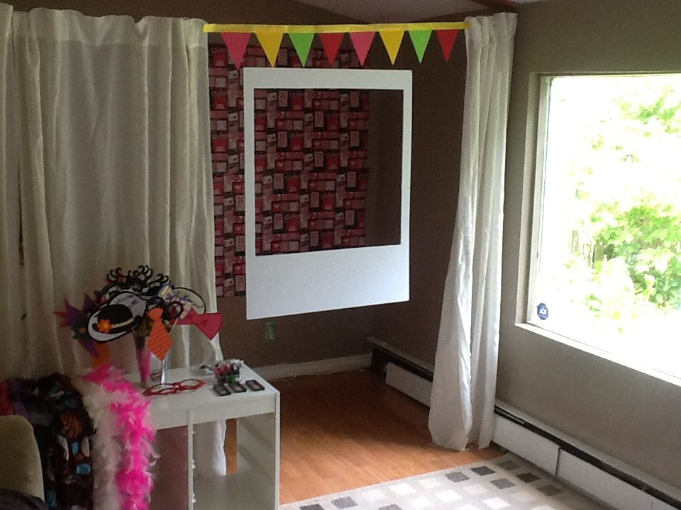 polaroid photo booth for chloe 39 s going away party homemade frame props and lipgloss it was an. Black Bedroom Furniture Sets. Home Design Ideas