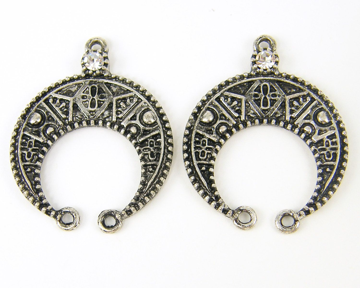 Crescent earring findings antique silver clear rhinestone tribal crescent earring findings antique silver clear rhinestone tribal horseshoe chandelier jewelry component s15 2 arubaitofo Image collections