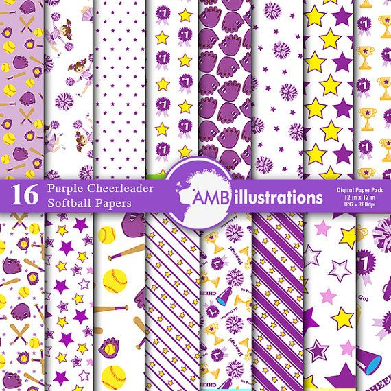 Softball Digital Papers, Purple Cheerleader papers, Sport