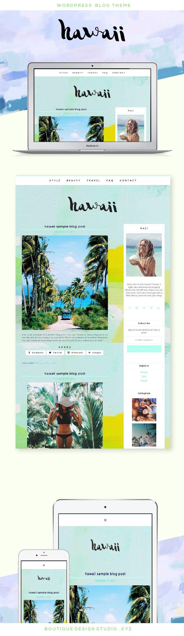 Hawaii Wordpress Theme Boutique Web Design Studio Blog Themes Wordpress Blog Design Wordpress Theme Wordpress Blog Design