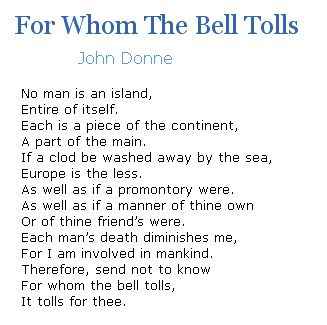 Image result for for whom the bell tolls poem