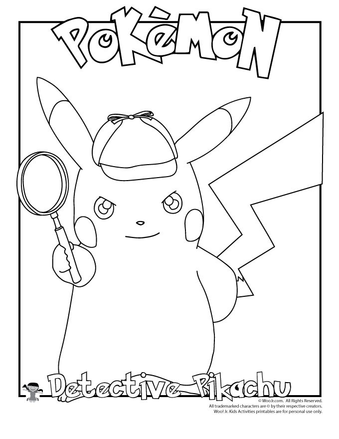 Pikachu Coloring Pages Detective Page Woo Jr Kids