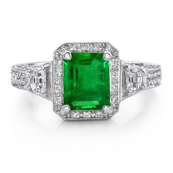 Angara Emerald-Cut Emerald Engagement Ring in Platinum PGstSHD