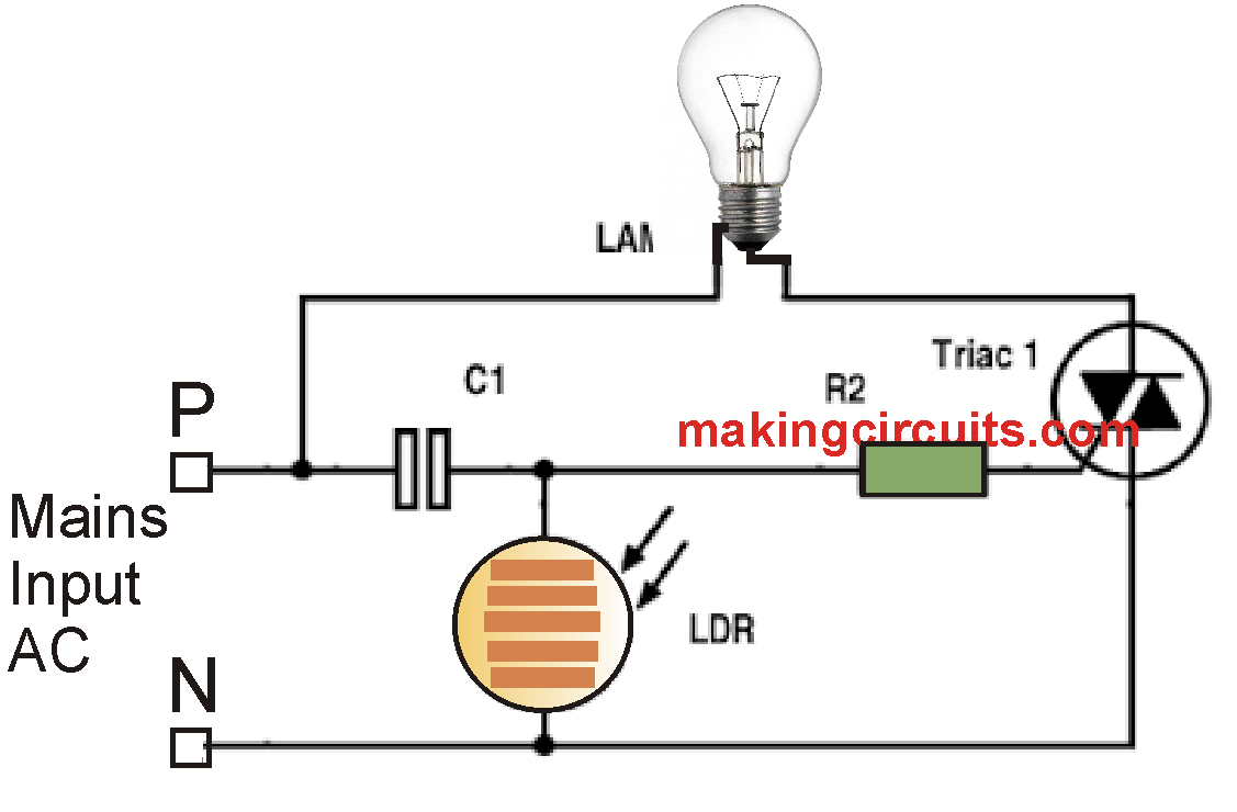 day night automatic triac switch circuit