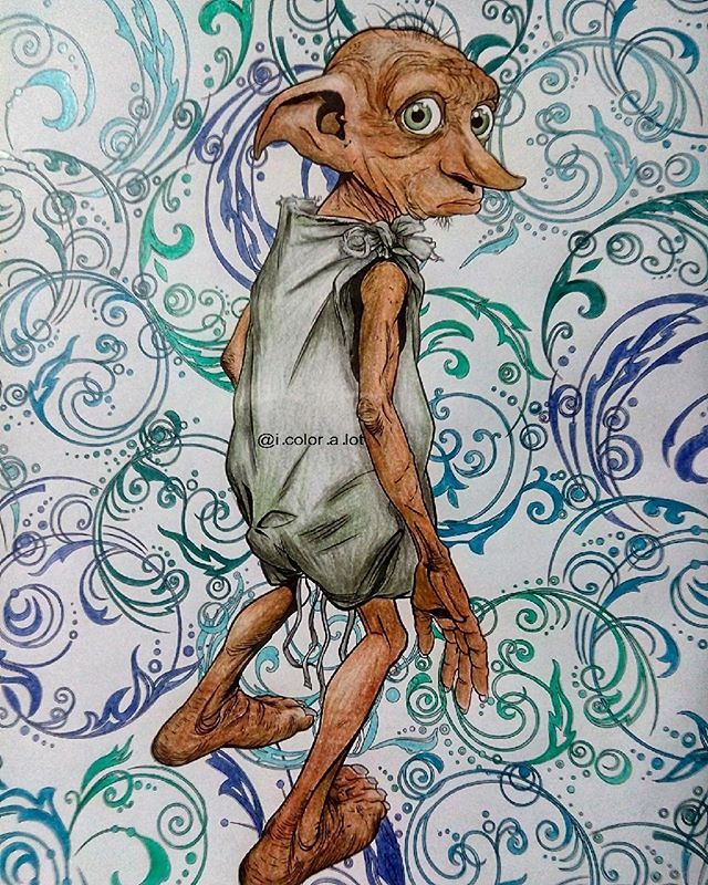 Dobby Harry Potter Colouring Book 12th Page Done Harrypottercolouringbook 10 25 20 Harry Potter Coloring Book Dobby Harry Potter Harry Potter Wallpaper