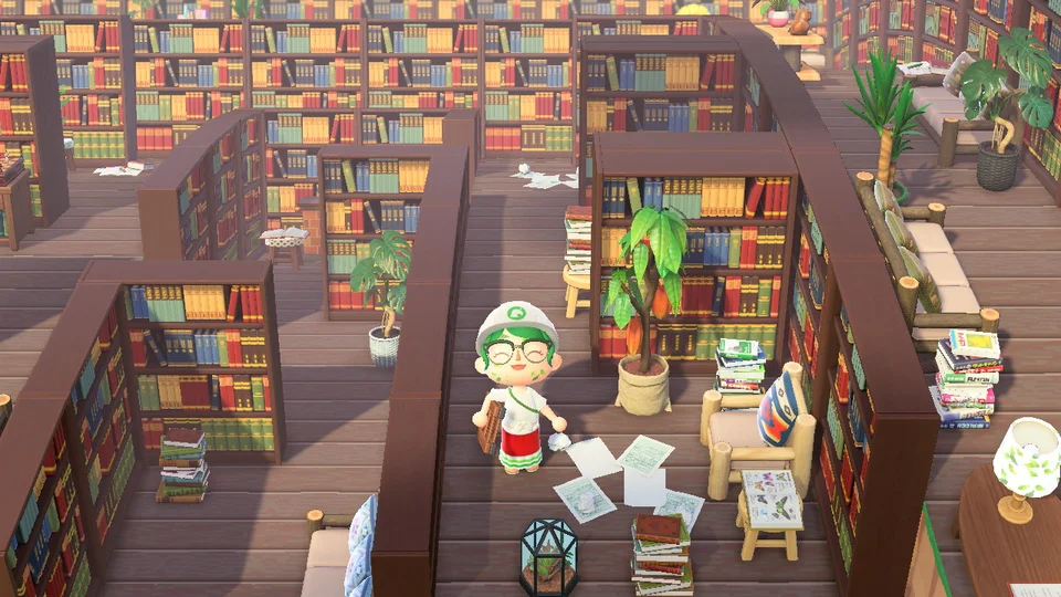 Finally finished my outdoor library! View from 2nd story ... on Kitchen Counter Animal Crossing  id=14910