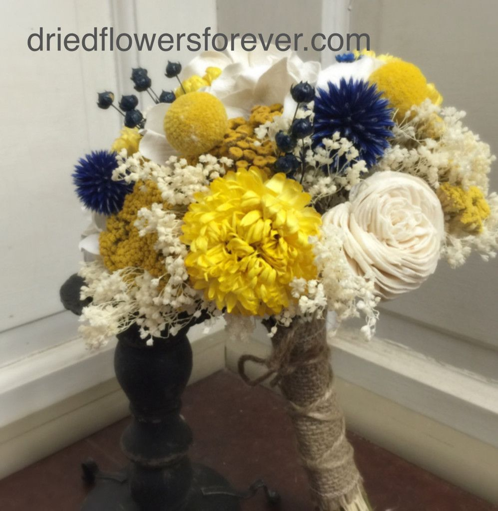 Preserved flower wedding bouquet sunny collection with navy blue natural bouquet in golden yellow and creamy white with navy blue accents slight alterations available mightylinksfo