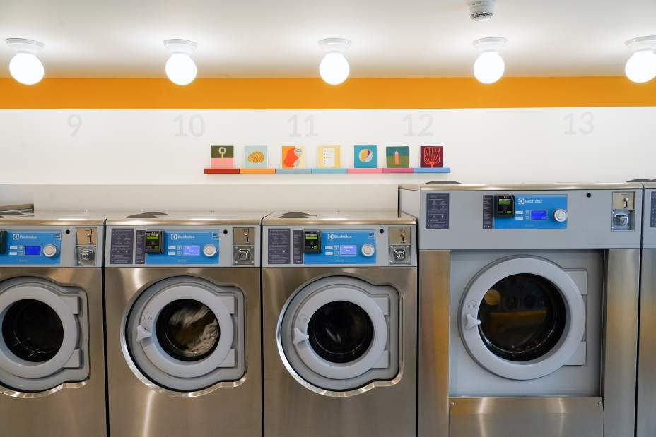 The Laundromat Has Begun A Fresh Spin Cycle As Photo Shoot Hot Spot Green Laundry Recycled Kitchen Laundry Room Supplies