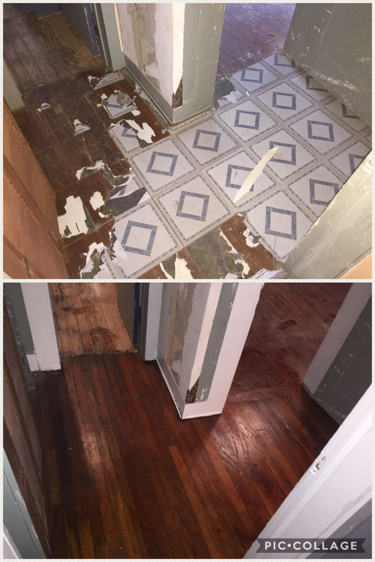 Removed Yr Old Vinyl Tile Floor Adhesive With Cooking Oil Poured - How to clean oil off tile floor