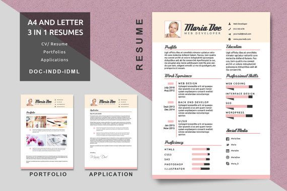 Professional Resume Cover Page Template For Portfolio Title