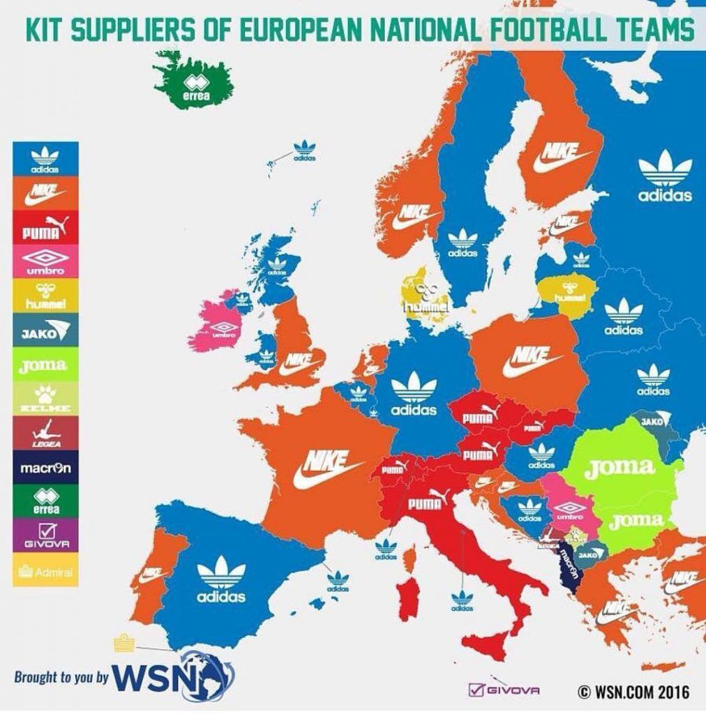 Kit Suppliers Of National Football Teams Of European Countries Vivid Maps National Football Teams National Football Map