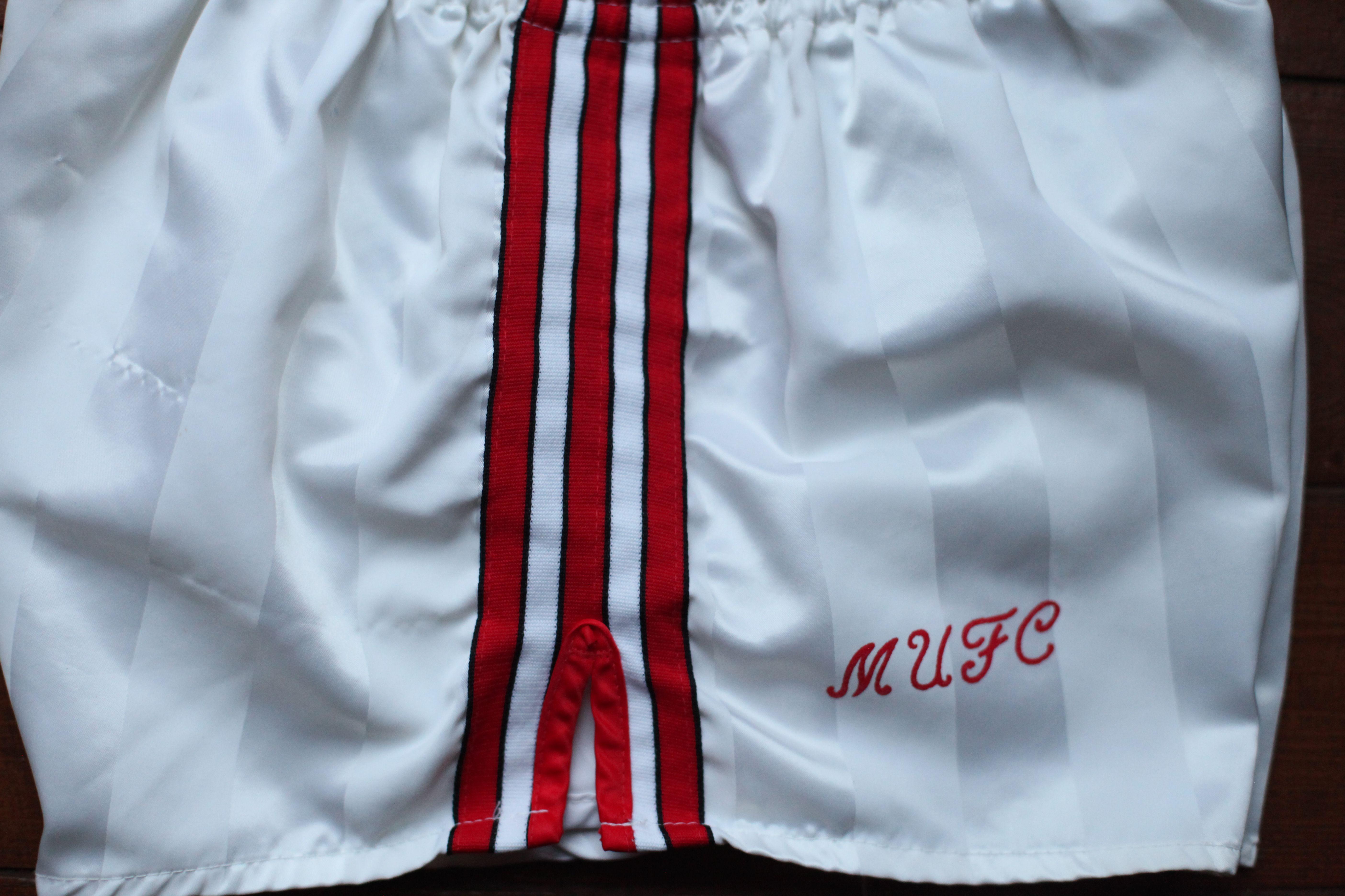 7e3e4aae26625 Rare & Vintage Adidas / Manchester United Away Shorts. White / Red ...