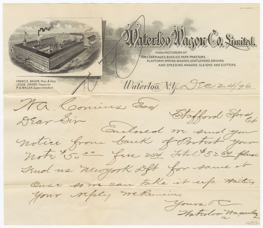 architectural letterhead Waterloo Wagon Co