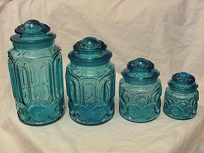 Vintage Set Of 4 L E Smith Moon Stars Blue Canister Jars With Lids