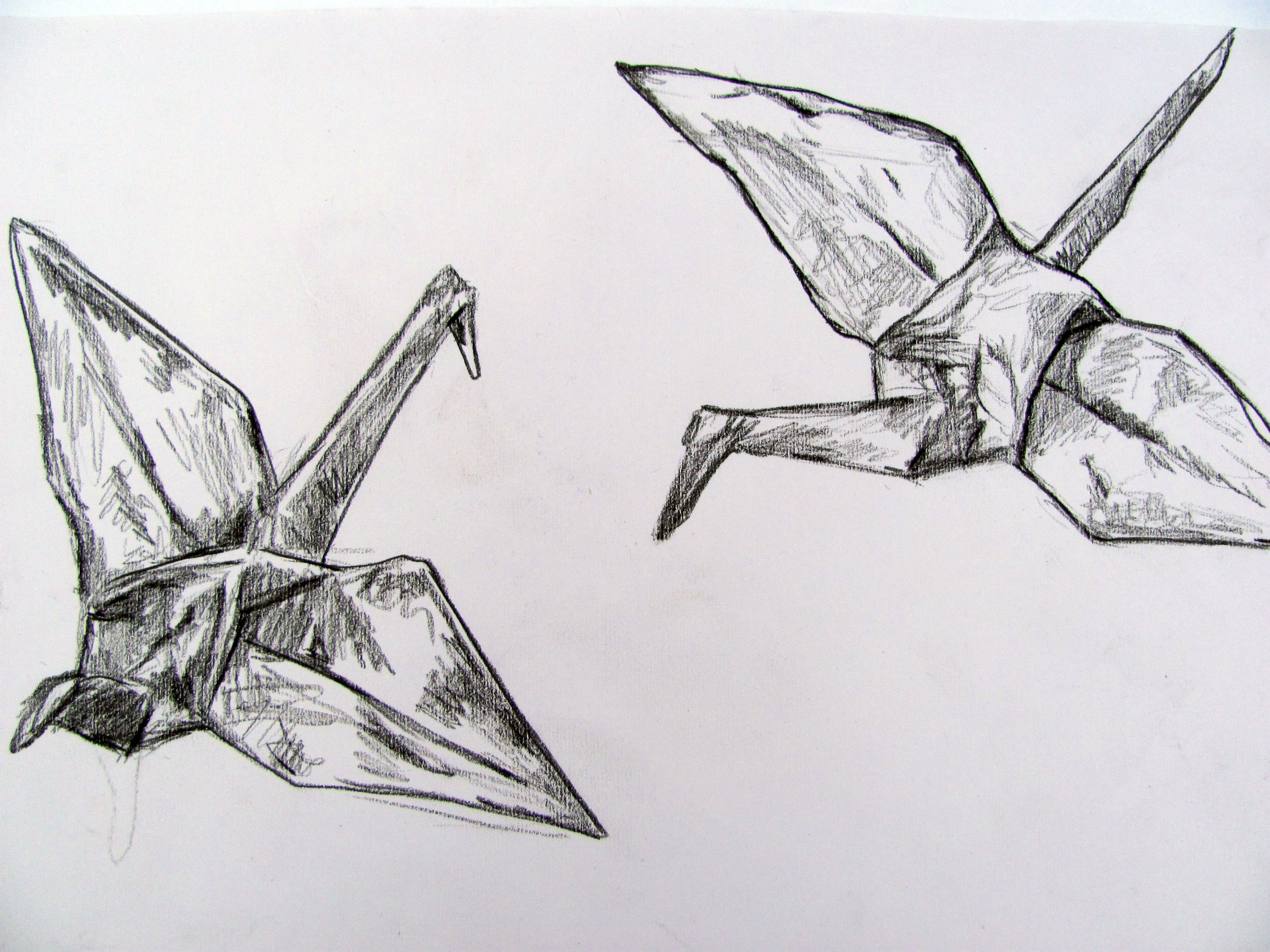 paper crane drawing alice thatcher 2012 origami drawing