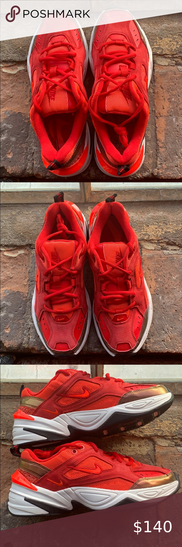 Nike M2k Tekno University Red Trainers Us7 5 In 2021 Red Trainers Nike Air Max Pink White Nike Tennis Shoes