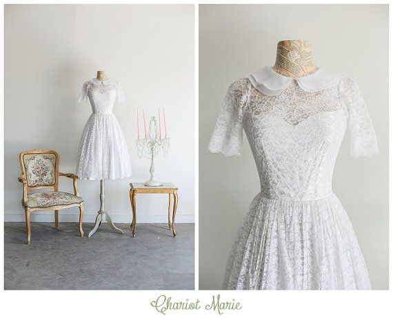 6eecb4950dc3 Tea Length Lace Bridal Gown with Peter Pan Collar by ChariotMarie, $148.00