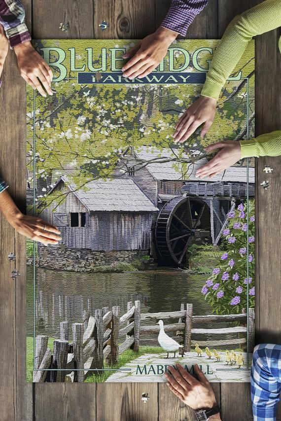 Blue Ridge Parkway - Mabry Mill in Spring (20x30 Premium 1000 Piece Jigsaw Puzzle, Made in USA!)