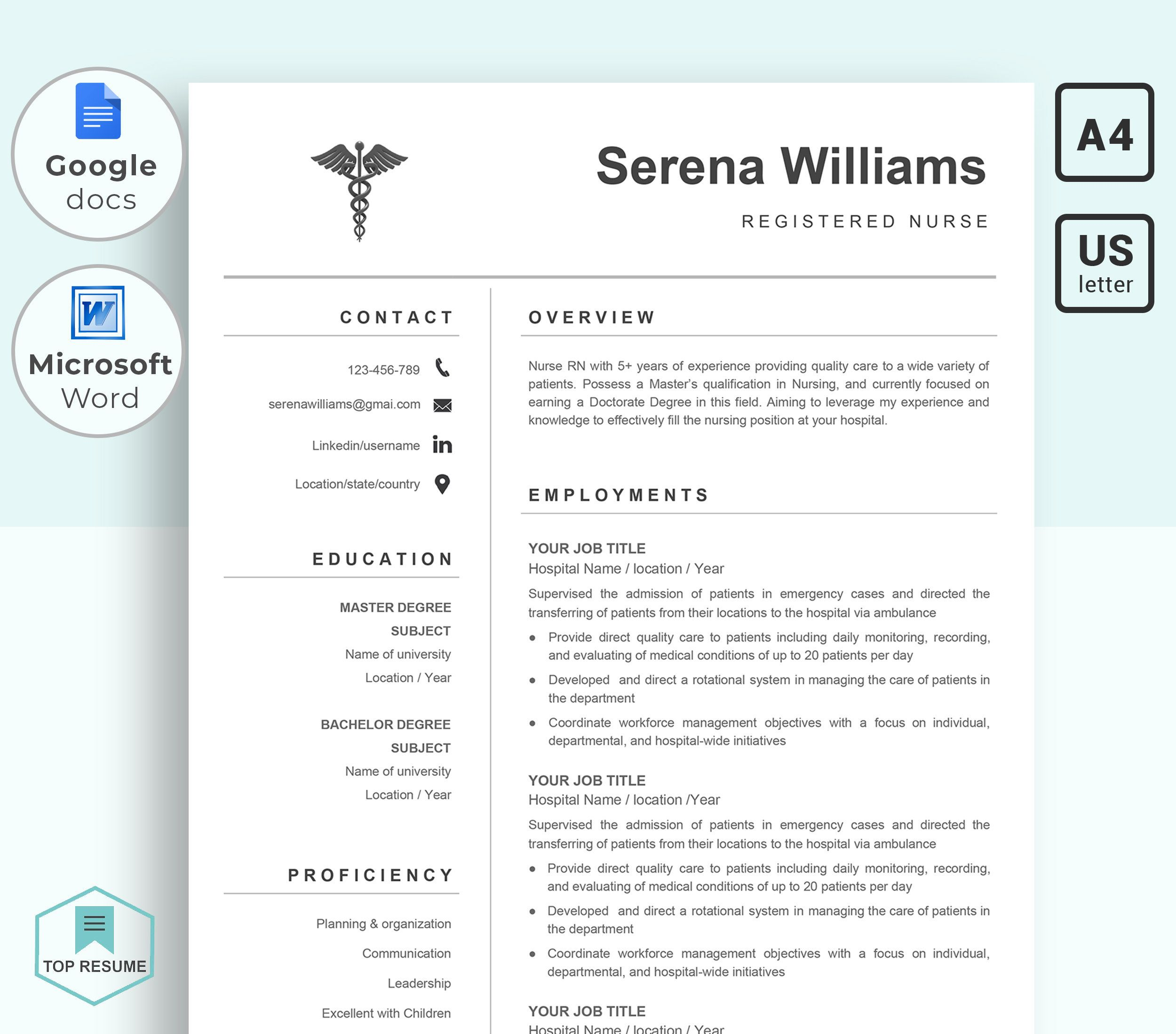 Ms Word And Google Docs Resume Template For Registered Nurse Medical And Pharmacy Cv Wi Nursing Resume Template Resume Template Microsoft Word Resume Template